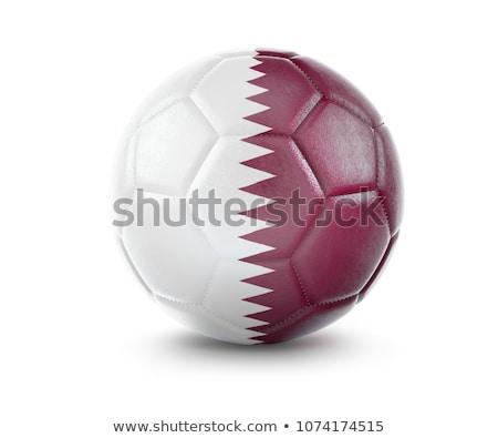 Futbol topu 3D Katar bayrak yalıtılmış Stok fotoğraf © Wetzkaz
