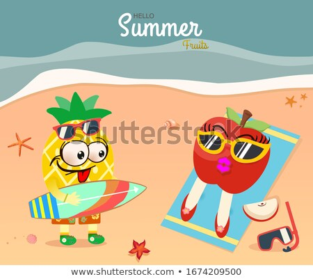 Hello Summer poster with apples, vector illustration Stock photo © ikopylov