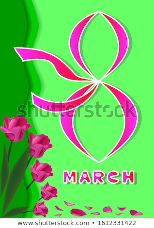 Happy Womens Day Floral Greeting Card Design. International Female Holiday Illustration with Women S Stock photo © articular