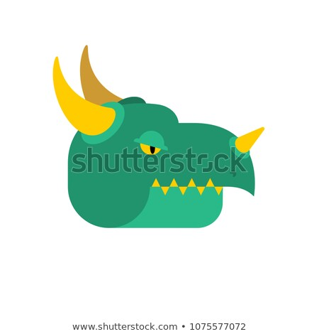 Stock photo: Dragon face green. Mythical Monster with wings. Terrible huge be