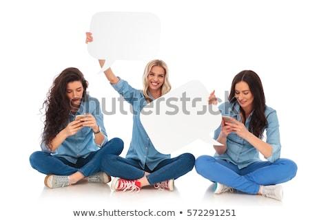 Nevet lezser nő telefon külső szövegbuborék Stock fotó © feedough