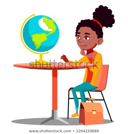 好奇心の強い 少女 座って 表 見える 世界中 ストックフォト © pikepicture