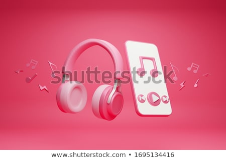 pink headphone with music notes in background stock photo © colematt