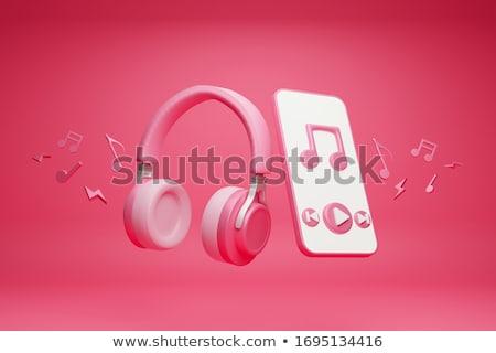 Roze hoofdtelefoon muziek merkt illustratie kunst jazz Stockfoto © colematt