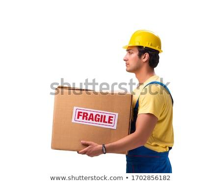 Jungen Auftragnehmer fragile Boxen isoliert weiß Stock foto © Elnur