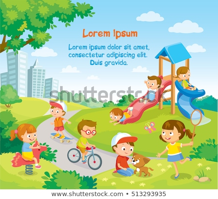 kids playground in green park vector illustration stock photo © robuart