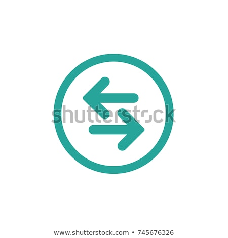 Vector icon. Two blue and orange opposite horizontal arrows isolated on white. Flat icon. Exchange i Stock photo © kyryloff
