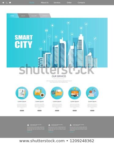 ville · navigation · applications · puce · tête · bannière - photo stock © rastudio