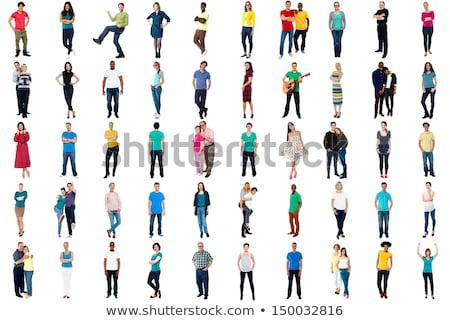 Stockfoto: Portret · gelukkig · denim · kleding