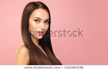 Stockfoto: Young Woman Portrait With Shiny Pink Salon Concept