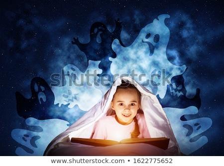 Happy girl niebieski piżama niebo ilustracja chmury Zdjęcia stock © colematt