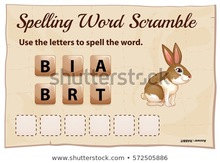Stok fotoğraf: Spelling Word Scramble Game Template With Word Rabbit