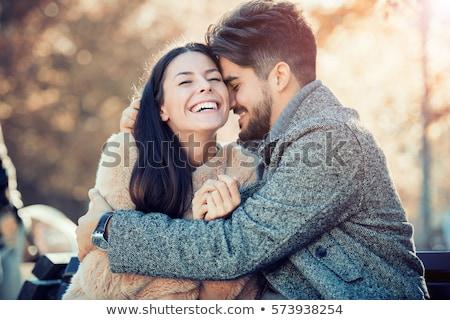 fiatalember · megbeszélés · gyönyörű · nő · ölel · fiúbarát · barátnő - stock fotó © dolgachov