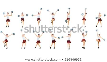 Pompomlány izolált fehér lány mosoly tánc Stock fotó © Elnur