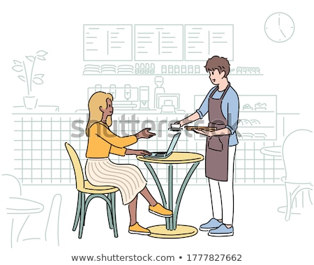 cafe table and customers drinking tea set vector stock photo © robuart