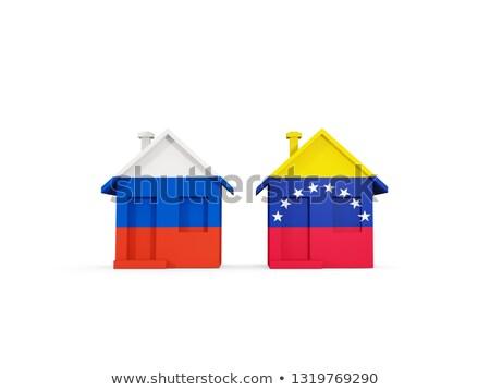Kettő házak zászlók Oroszország Venezuela izolált Stock fotó © MikhailMishchenko