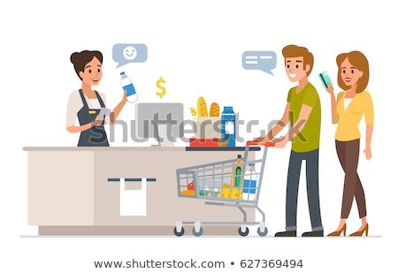 Süpermarket kasiyer alışveriş vektör adam Stok fotoğraf © robuart