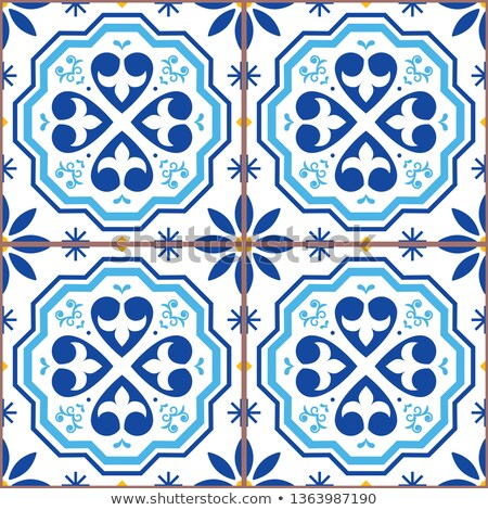 Azulejo vector tiles seamless pattern inspired by Portuguese art, Lisbon blue style tile background  Stock photo © RedKoala