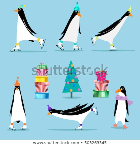 Penguin on Skates, Bird Skating on Ice Rink, Xmas Zdjęcia stock © robuart
