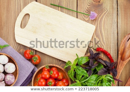 fruits vegetables cutting board and juice stock photo © dolgachov