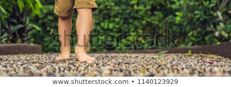 boy walking on a textured cobble pavement reflexology pebble stones on the pavement for foot refle stock photo © galitskaya