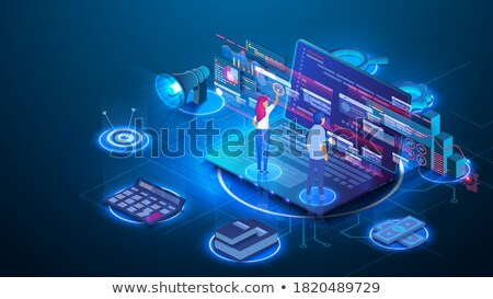 Blue Holographic cloud of infographics Stock photo © ConceptCafe