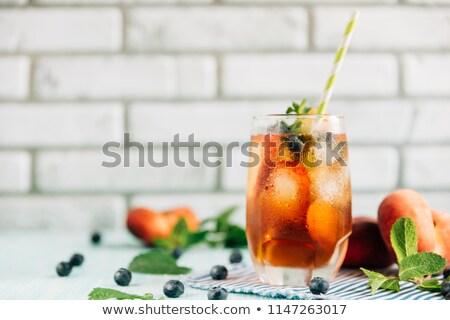 Házi készítésű ice tea citrom friss menta levelek Stock fotó © BarbaraNeveu