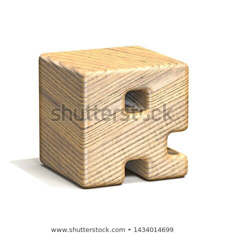 Solid wooden cube font Letter R 3D Stock photo © djmilic
