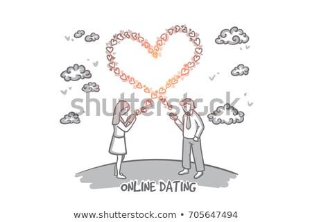 szeretet · randizás · ikon · szett · modern · vektor · ikonok - stock fotó © robuart