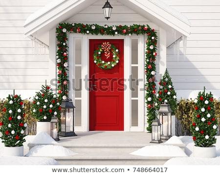 Noël décorations porte d'entrée maison or ruban Photo stock © feverpitch