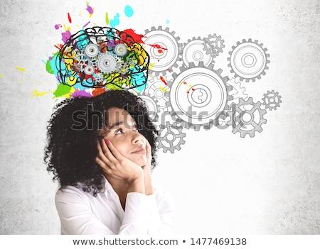 Lány ötletelés csinos munka terv háttér Stock fotó © ra2studio