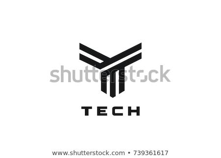 Linear geometric outline alphabet Letter T, Simple Logo Design, Blue graphic element for typography  Stock photo © kyryloff