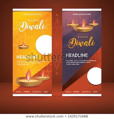 elegant white diwali banner with creative diya design stock photo © sarts