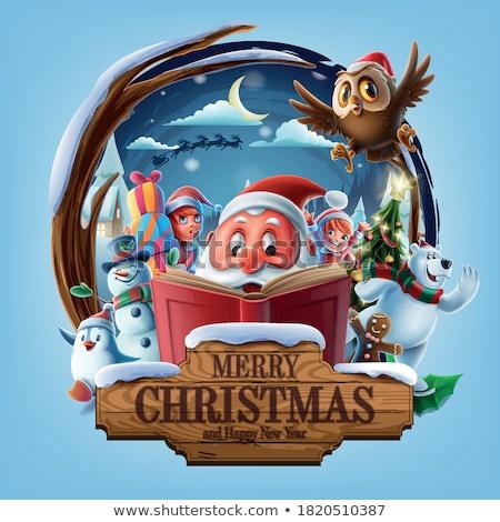 Santa, elf and snowman. Christmas card Stock photo © balasoiu