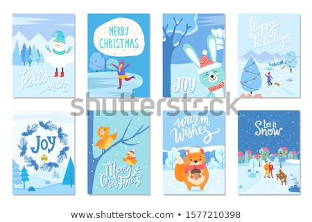 Xmas Greeting Card, Christmas Warm Wishes Caption Stock photo © robuart