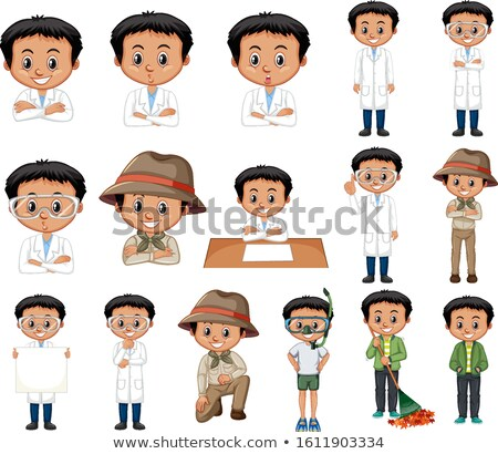 Set of black hair boy doing different activities Stock photo © bluering