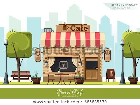 Cafe Exterior in City Park, Shop Building Facade Stock photo © robuart
