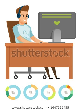 Male Using Computer, Working with PC, Hobby Vector Stock photo © robuart