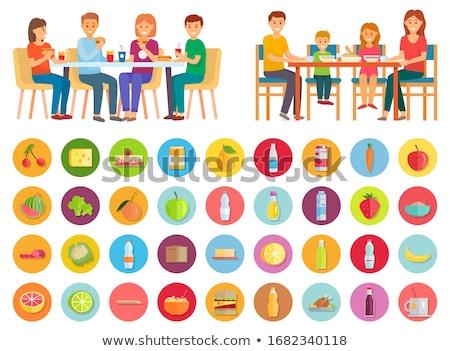 Familie eten rommel gezonde voeding iconen product Stockfoto © robuart