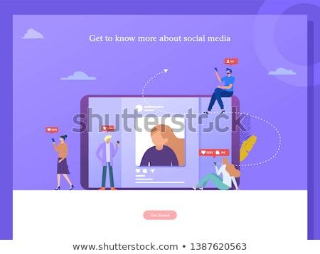 Verslaving landing pagina zakenlieden smartphones Stockfoto © RAStudio