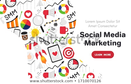 Vector smm elements. Social Media Marketing. Reach and promotion among target audience. Concept is f Stock photo © user_10144511