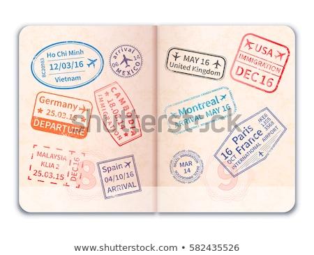 Realistisch Open buitenlands paspoort veel immigratie Stockfoto © evgeny89