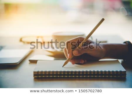 Design gráfico bloco de notas lápis escrita escolas caneta Foto stock © yupiramos