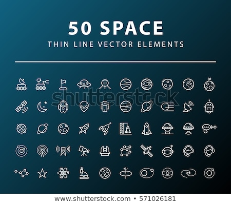 Space aliens - line design style icons set Stock photo © Decorwithme