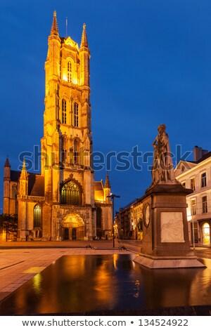 Saint Bavo Cathedral in the evening. Sint-Baafsplein, Ghent, Bel Stock photo © dmitry_rukhlenko