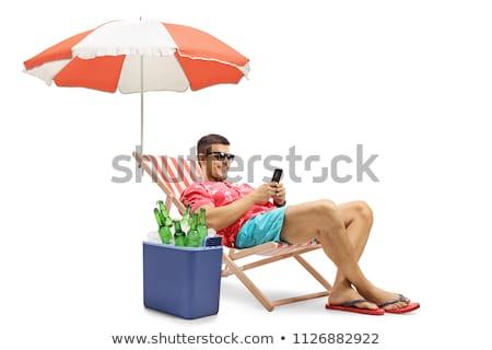 смартфон палуба Председатель пляж черный песок Сток-фото © nito