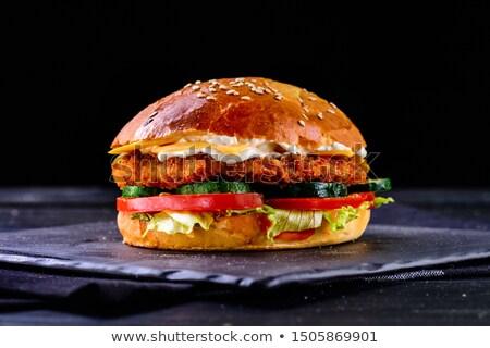 klasszikus · hamburger · szendvics · sültkrumpli · amerikai · hagyma - stock fotó © keko64