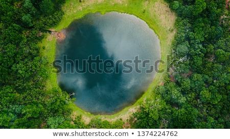 Luchtfoto meer landschap dorp huis Blauw Stockfoto © remik44992