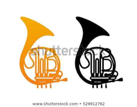 Stock photo: French Horn Silhouette Isolated on Yellow