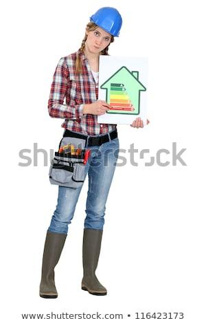 Vrouwelijke werknemer energie-efficiëntie logo business energie Stockfoto © photography33